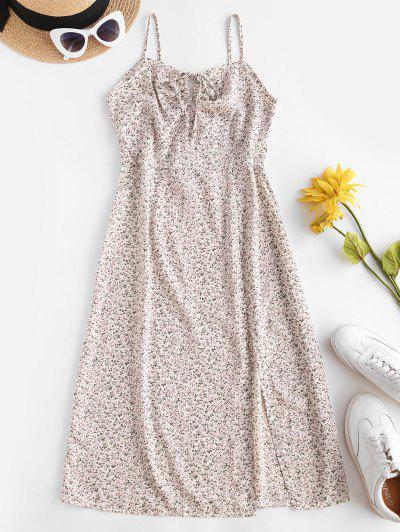 Robe Fleurie Fendue Nouée à Bretelle - Blanc M