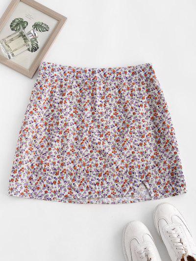 Ditsy Floral Slit A Line Skirt - Light Purple S