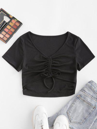 ZAFUL Ribbed Cinched Cutout V Neck T Shirt - Black S