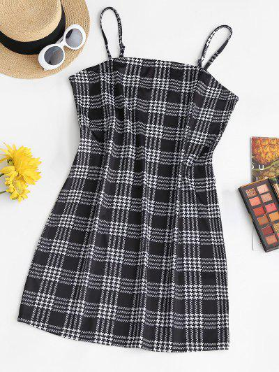 ZAFUL Plus Size Spaghetti Strap Plaid Slinky Bodycon Dress - Multi 3xl