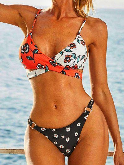 ZAFUL Ribbed Floral Rings Colorblock Wrap Bikini Swimwear - Black S