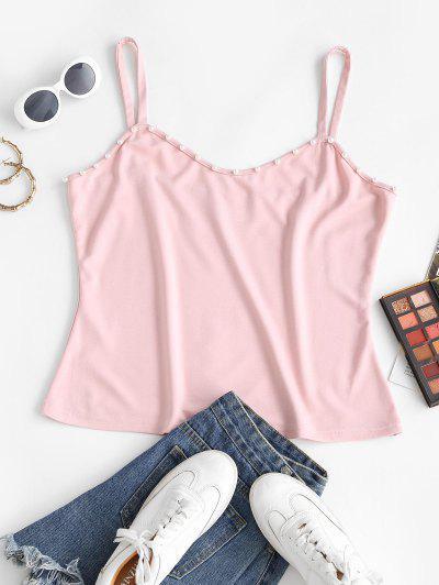 ZAFUL Plus Size Beading Cami Top - Light Pink 2xl