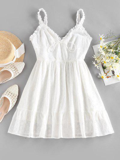 ZAFUL Ruffle Broderie Anglaise Mini Dress - White S