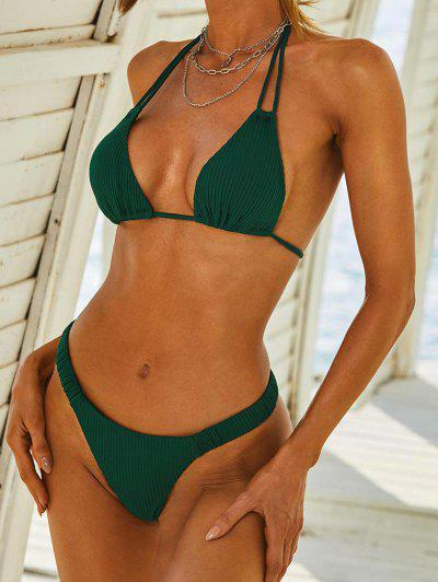 ZAFUL Ribbed Multi Way Tanga Bikini Swimwear - Deep Green M