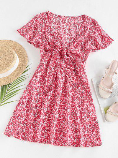 ZAFUL Leaves Print Front Knot Mini Dress - Red L