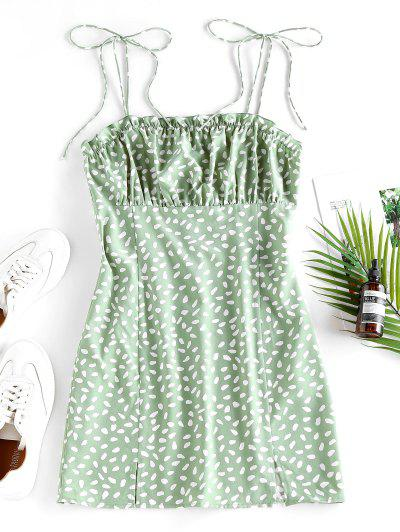 ZAFUL Speckled M Slit Ruffle Tie Shoulder Dress - Light Green M