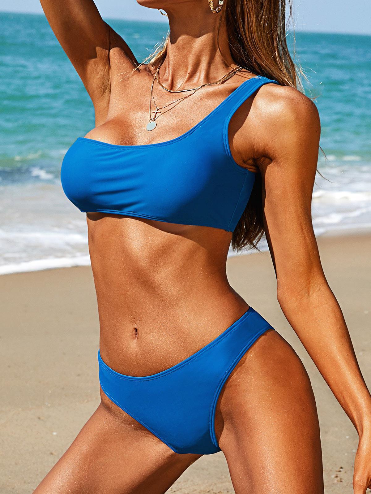 ZAFUL One Shoulder Plain Cheeky Bikini Swimwear