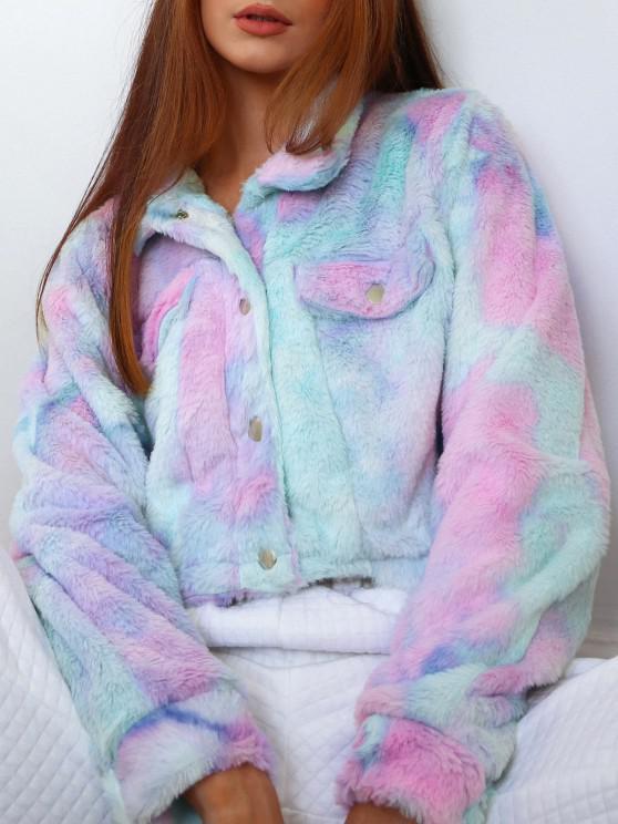 hot ZAFUL Tie Dye Faux Fur Crop Jacket - MULTI-A L