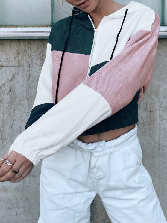lady ZAFUL Corduroy Color Block Hooded Zip Jacket - MULTI-B S