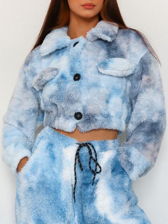 ZAFUL Faux Fur Tie Dye Short Coat - أزرق فاتح S
