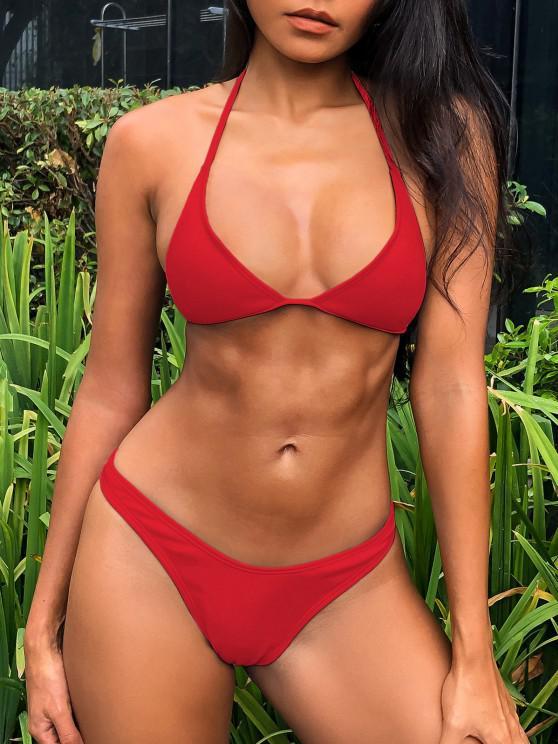trendy ZAFUL Ribbed High Leg Bikini Set - RED S