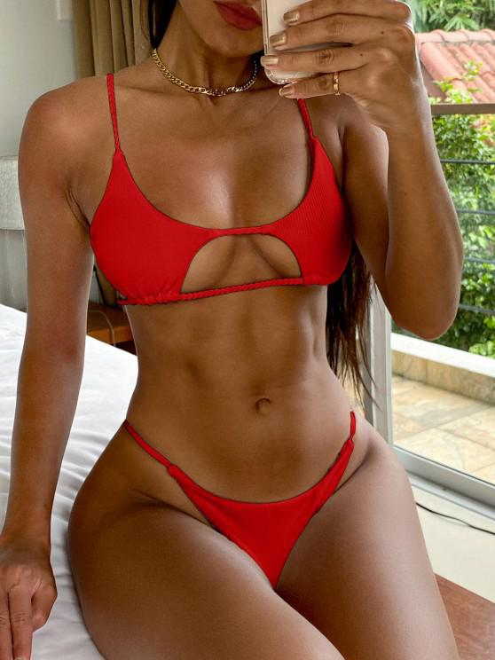 shop ZAFUL Ribbed Braided Cut Out Bikini Set - RED M