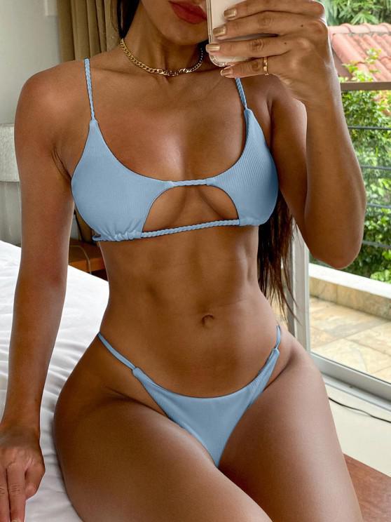 ladies ZAFUL Ribbed Braided Cut Out Bikini Set - LIGHT BLUE S