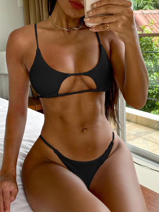 ZAFUL Bikini de Corte Trenzado Acanalado - Negro M