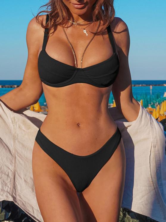 ZAFUL Bikini Acanalado de Corte Alto con Aros - Negro M