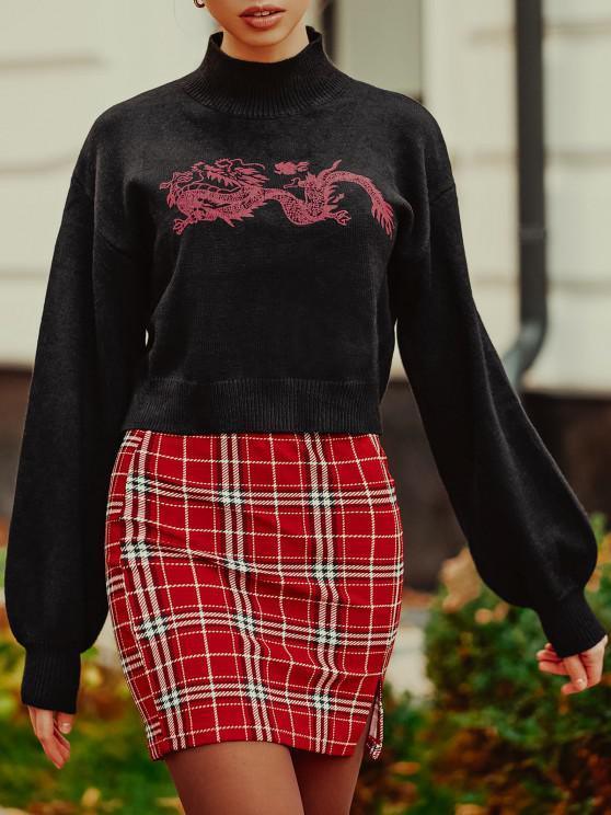 Stehkragen Orientalische Drache Grafik Pullover - Schwarz Eine Größe