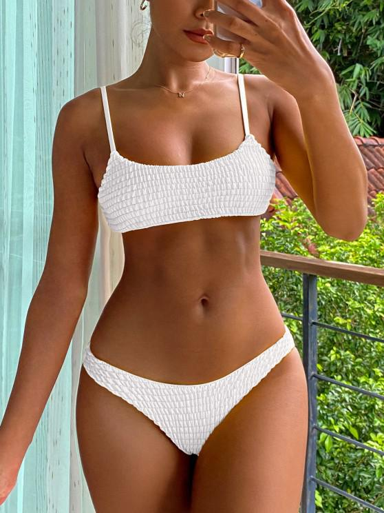 outfits Smocked Bikini Top and Bottoms - WHITE L