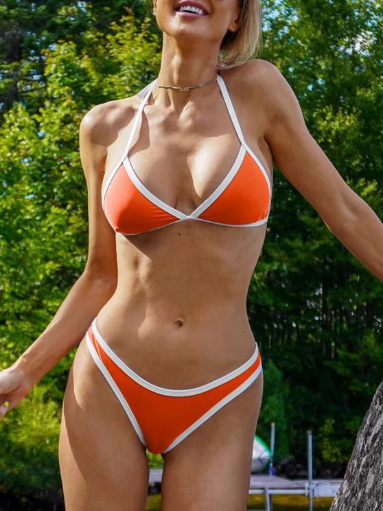 Bikini A Contrasto Con Taglio Alto - Neon Arancio M