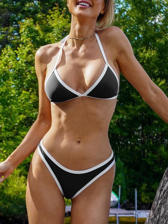 online High Cut Contrast Piping Bikini Set - BLACK M