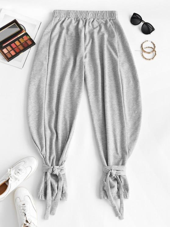 chic Tie Cuffs French Terry Baggy Sweatpants - GRAY L
