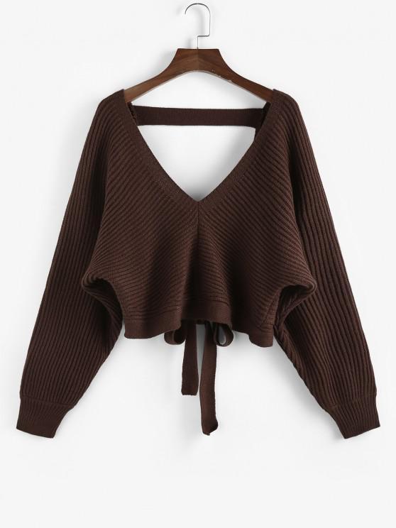 fancy ZAFUL Tie Back Plunging Batwing Sleeve Sweater - DEEP COFFEE S