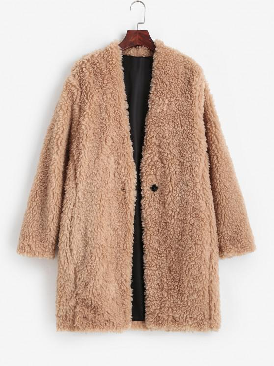 trendy One Button Pocket Longline Teddy Coat - LIGHT COFFEE L