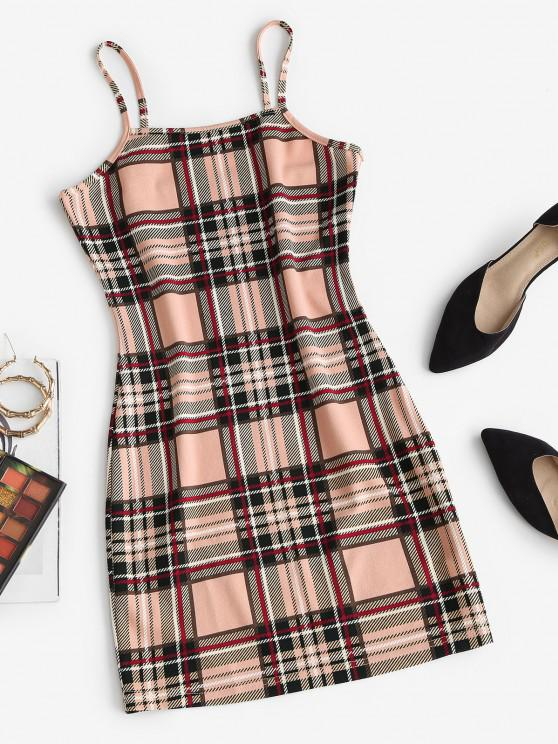 ZAFUL Plaid Bodycon Mini Dress - القهوة الخفيفة L