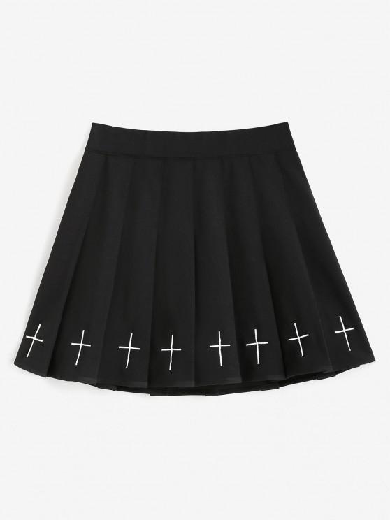 ladies Cross Embroidered Mini Pleated Skirt - BLACK M
