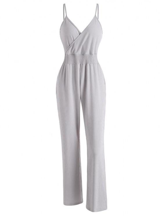 buy Ribbed Surplice Cami Lounge Sleep Jumpsuit - LIGHT GRAY L