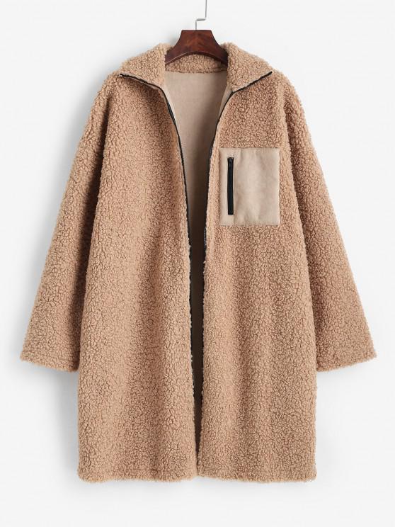 lady ZAFUL Drop Shoulder Pocket Teddy Coat - LIGHT COFFEE S