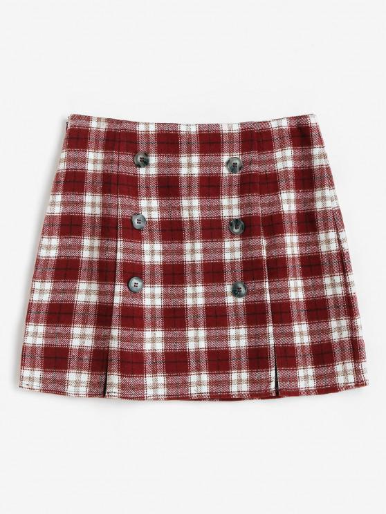 hot ZAFUL Plaid M Slit Mini Skirt - RED S