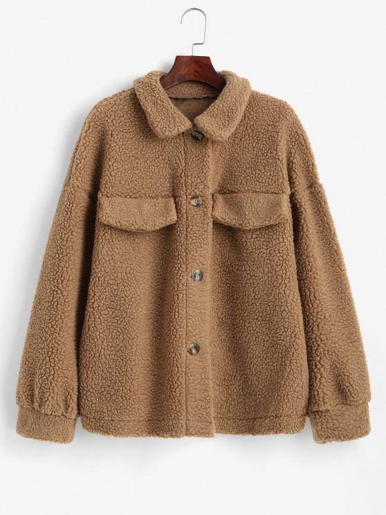 chic ZAFUL Drop Shoulder Flap Detail Teddy Coat - TIGER ORANGE L