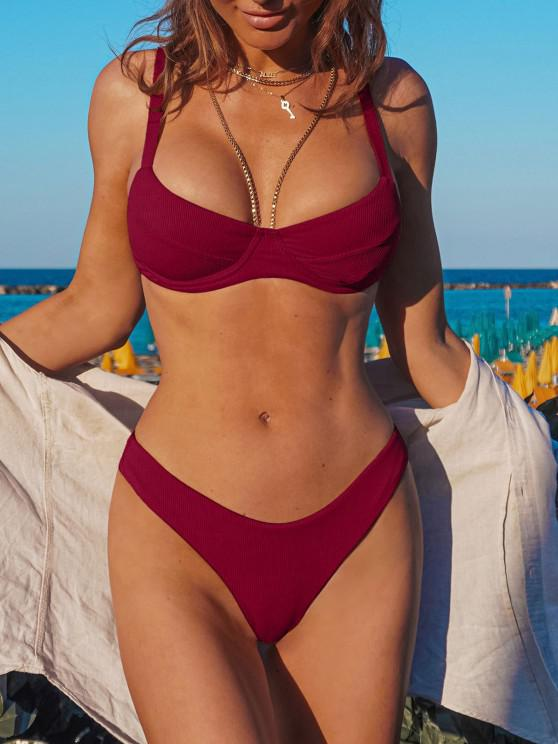 outfits ZAFUL Underwire High Leg Ribbed Bikini Swimsuit - RED WINE S