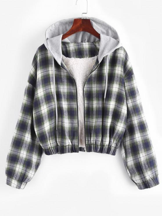 womens Hooded Faux Shearling Lined Plaid Jacket - MULTI L