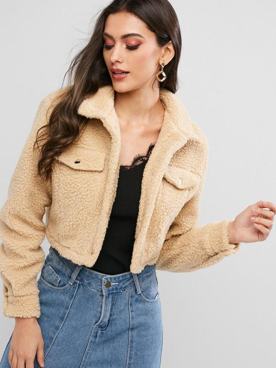 women ZAFUL Snap Button Teddy Cropped Jacket - TAN S