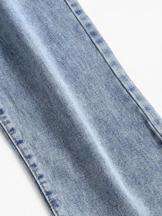 Distressed Pocket Dip Dye High Waisted Straight Jeans - Blue Xs   ZAFUL