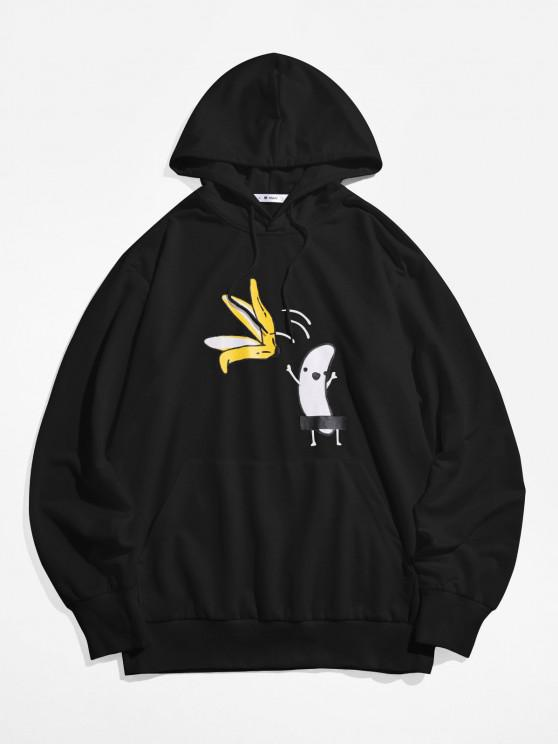 sale ZAFUL Banana Print Kangaroo Pocket Funny Hoodie - BLACK L