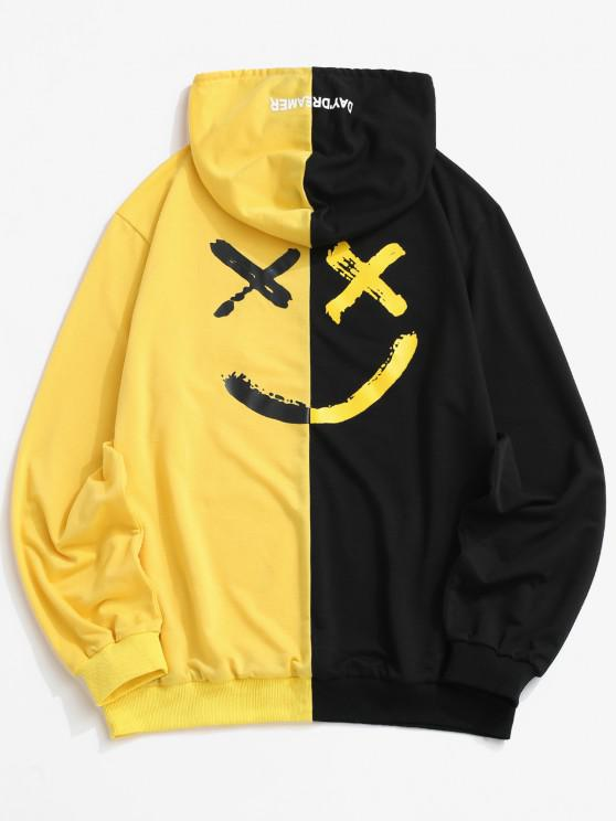 outfits ZAFUL Letter Print Contrast Slogan Hoodie - YELLOW 2XL