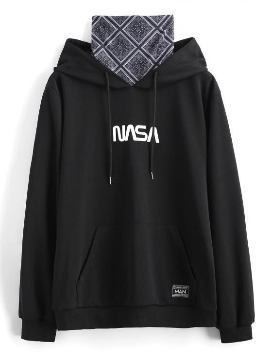 Letter Print Patched Hoodie With Bandana Neck Gaiter - أسود S