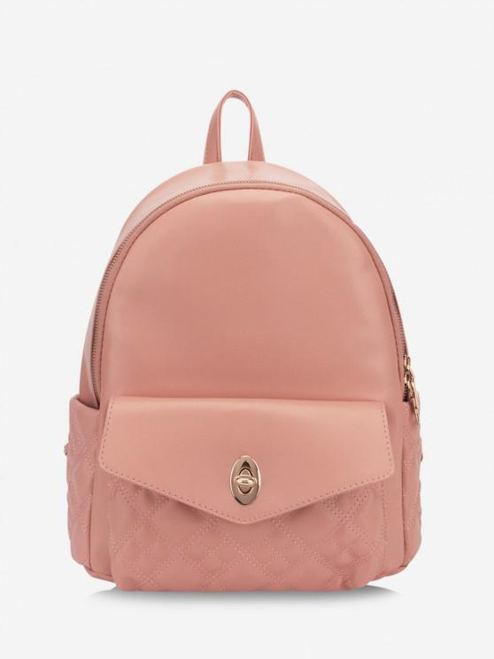 Quilted Simple Buckle Straps Backpack - زهري