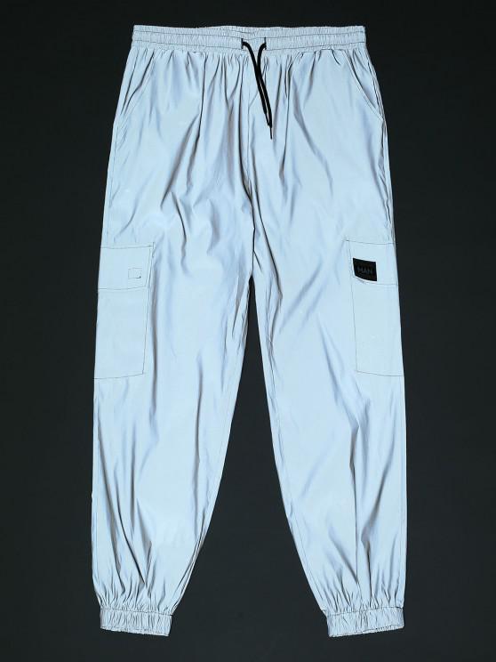 Reflective Patch Cargo Pants - اللون الرمادي L