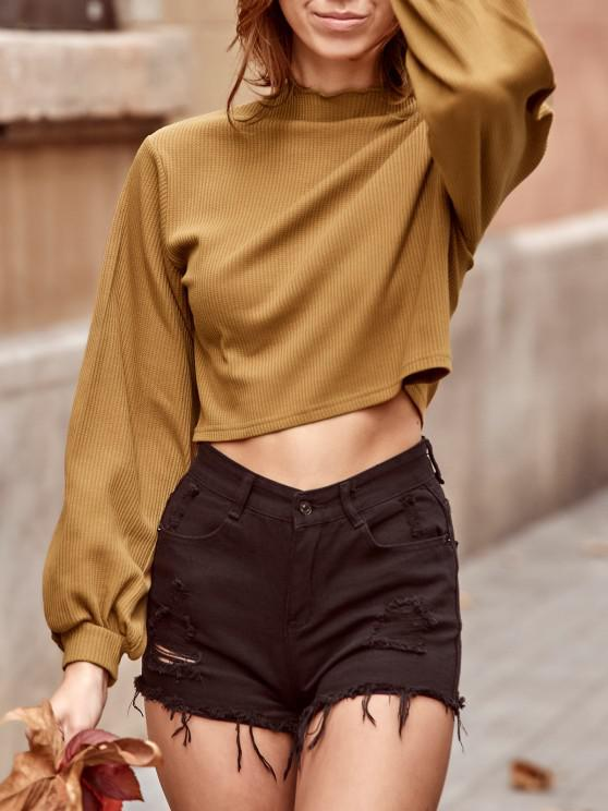 ZAFUL Ribbed Knit Drop Shoulder Short Tee - الجمل الجمل S
