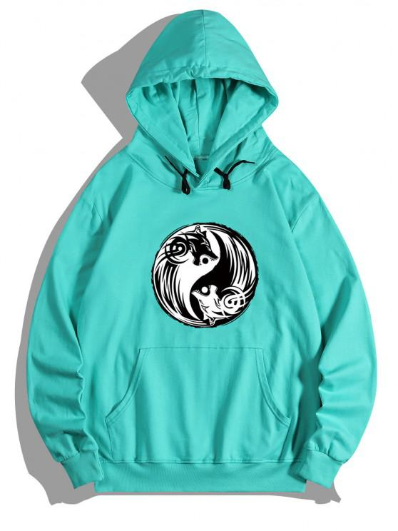 latest Bagua Wolf Print Kangaroo Pocket Fleece Hoodie - MEDIUM TURQUOISE S