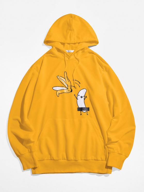 chic ZAFUL Banana Print Kangaroo Pocket Funny Hoodie - YELLOW 2XL