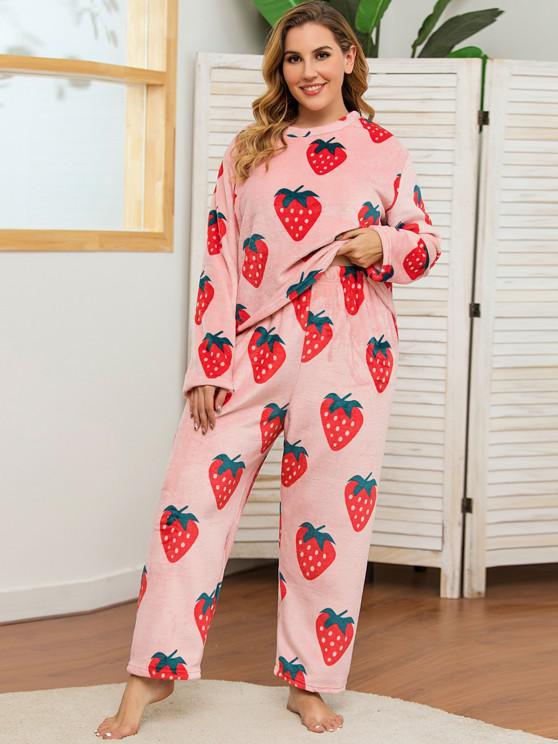 Plus Size Strawberry Print Fluffy Pyjamas - وردي فاتح 3XL