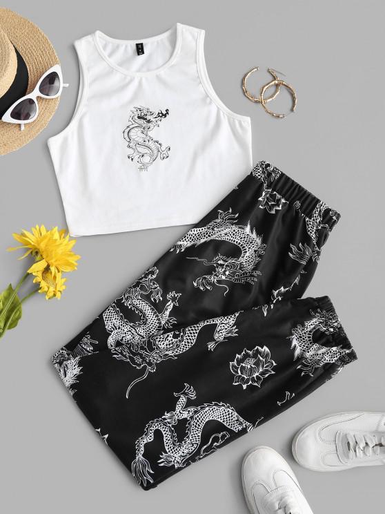 online ZAFUL Dragon Print Oriental Racerback Egirl Two Piece Pants Set - MULTI L