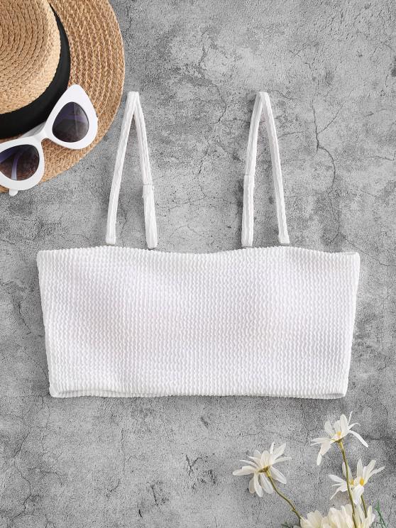 buy ZAFUL Textured Padded Cami Swim Top - WHITE S