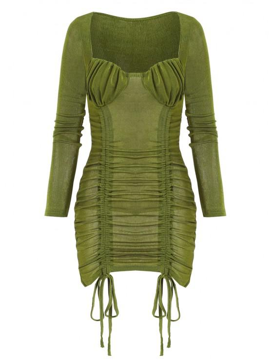 trendy Cinched Ruched Bust Sheeny Bodycon Dress - DEEP GREEN M