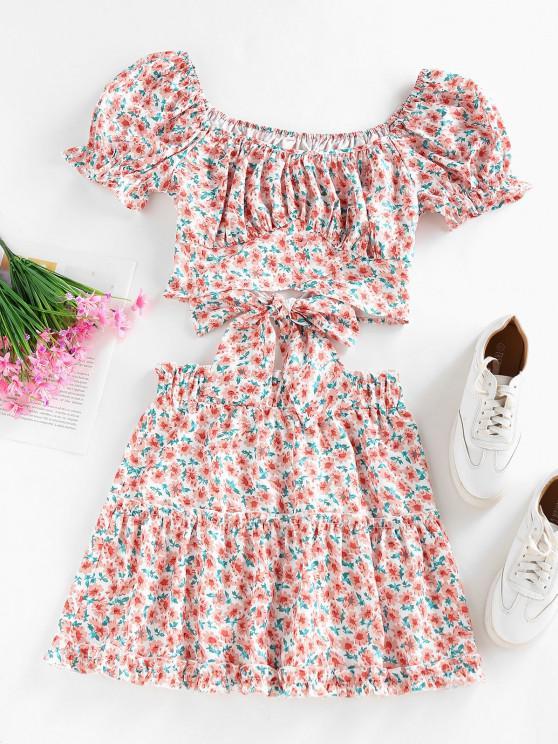 hot ZAFUL Flower Puff Sleeve Ruffle Tiered Skirt Set - LIGHT PINK M