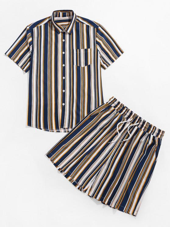 ZAFUL Striped Print Pocket Shirt and Shorts Set - ازرق غامق M